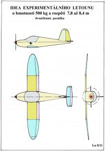 Idea - experimentální letounu 500 kg
