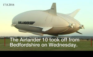 Airlander při staru v Cardingtonu 17.8.2016